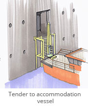 Tender to accommodation vessel